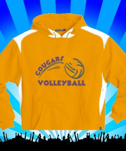 Gold Cougars Volleyball on Gold Sport-Tek Hoodie Design Zoom