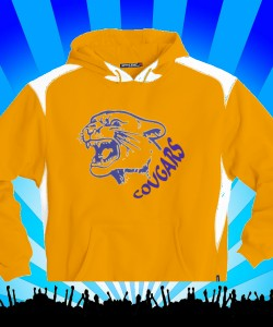 Gold Cougars Head and Text 60/40 Sweatshirt Design Zoom