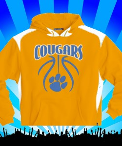 Gold Cougars Basketball Paw Sweatshirt Design Zoom