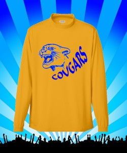 Gold Cougars Long sleeve Mock Tee Design Zoom