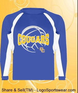 Blue Volleyball Wicking Longsleeve T-shirt Design Zoom