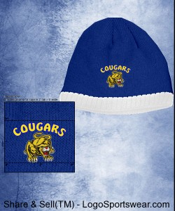 Blue Cougars Beanie w/white trim Design Zoom