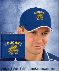 Blue Double Cougar Dry Zone Baseball Hat Design Zoom