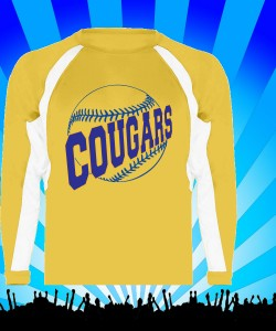 Gold Baseball/Softball Performance Long Sleeve T-shirt Design Zoom